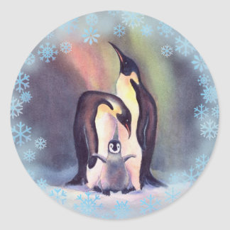 PENGUIN FAMILY by  SHARON SHARPE Classic Round Sticker