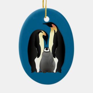 penguin family ceramic ornament