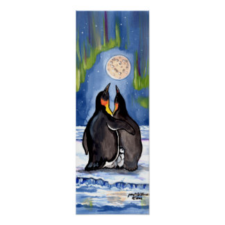 Penguin Family Chick Aurora Moon Romantic Poster
