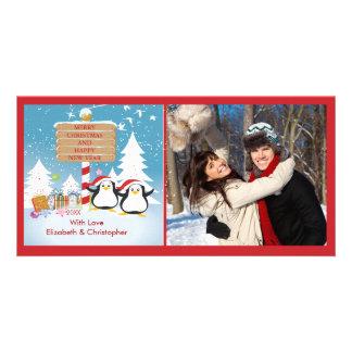 Penguin Family Of 2 Holiday Christmas Photo Card