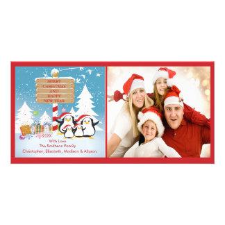 Penguin Family Of 4 Holiday Christmas Photo Card
