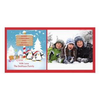 Penguin Family Of 5 Holiday Christmas Photo Card