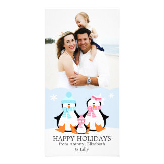 Penguin Family Photo Card Template