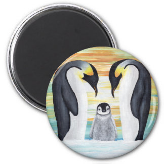 Penguin Family with Baby Penguin 6 Cm Round Magnet