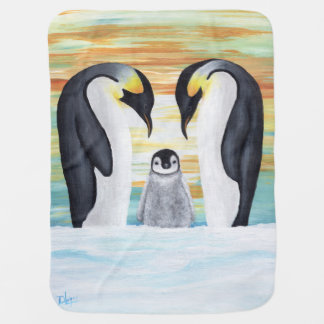 Penguin Family with Baby Penguin Baby Blanket
