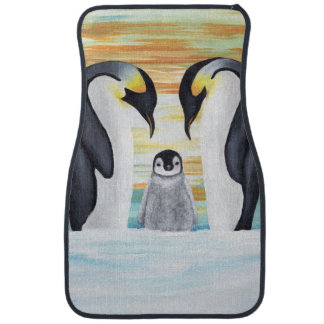 Penguin Family with Baby Penguin Car Mat