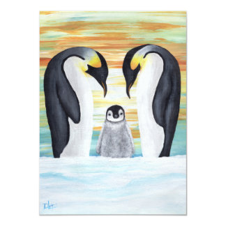 Penguin Family with Baby Penguin Card