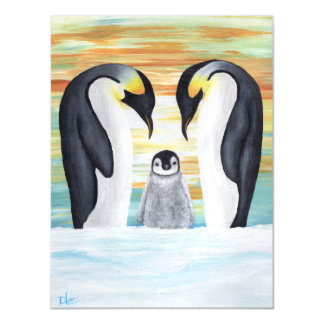 Penguin Family with Baby Penguin Magnetic Card