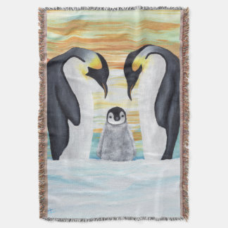 Penguin Family with Baby Penguin Throw Blanket