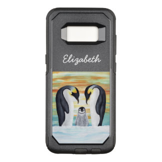 Penguin Family with Baby Your Name OtterBox Commuter Samsung Galaxy S8 Case