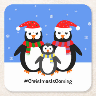 Penguin family your text christmas square paper coaster