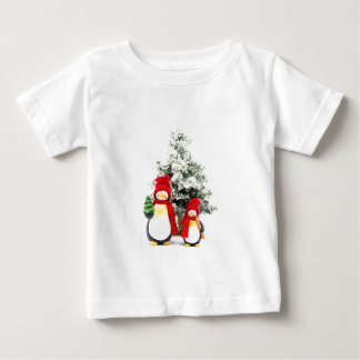 penguin figurines with christmas tree in winter baby T-Shirt