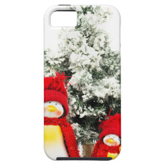 penguin figurines with christmas tree in winter iPhone 5 covers