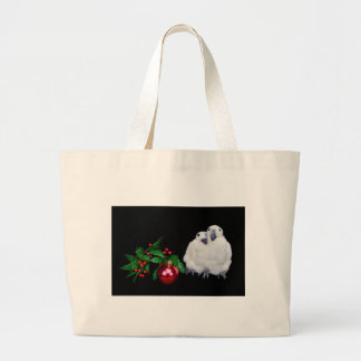 Penguin figurines  with red christmas ball large tote bag