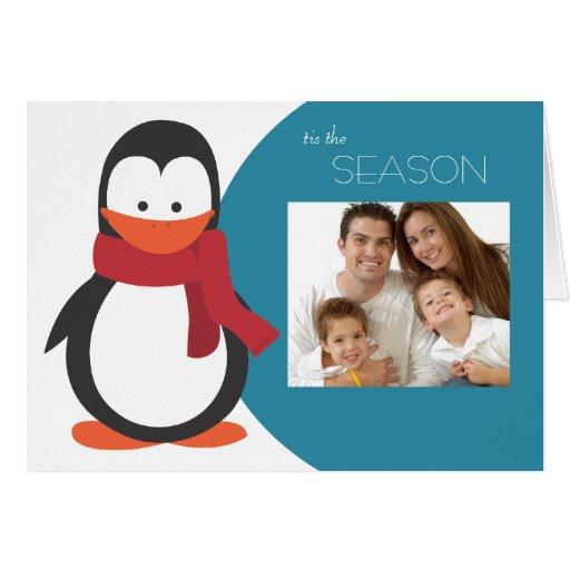 Penguin Folded Holiday Card-blue
