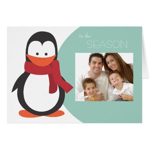 Penguin Folded Holiday Card-blue green