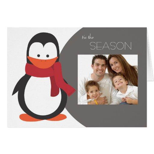 Penguin Folded Holiday Card-gray