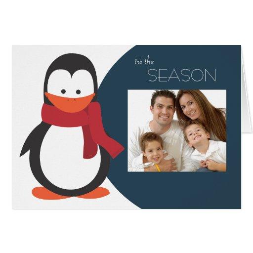 Penguin Folded Holiday Card-navy