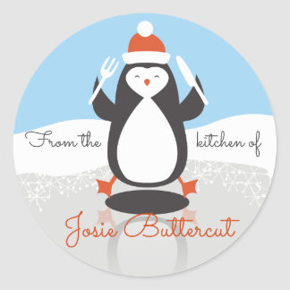 Penguin fork knife Christmas from the kitchen of Round Sticker