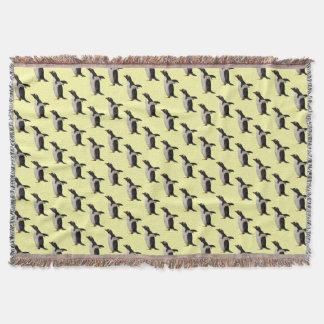 Penguin Frenzy Throw Blanket (Light Yellow)