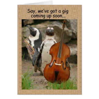 Penguin Gig Invite Greeting Card