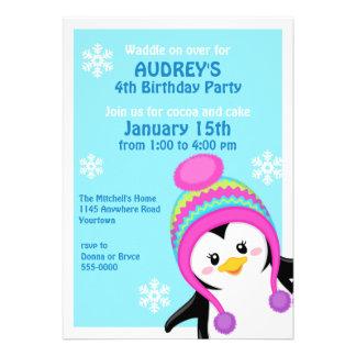 Penguin Girl s Winter Birthday Invitation