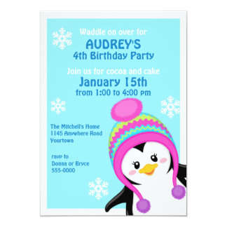 Penguin Girl's Winter Birthday Invitation