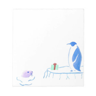 Penguin Gives Seal A Gift Notepad