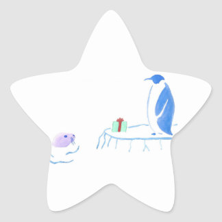 Penguin Gives Seal A Gift Star Sticker
