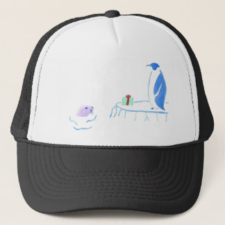 Penguin Gives Seal A Gift Trucker Hat