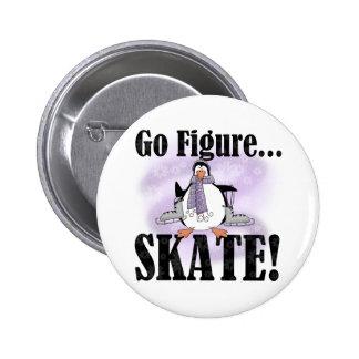 Penguin Go Figure Skate 6 Cm Round Badge