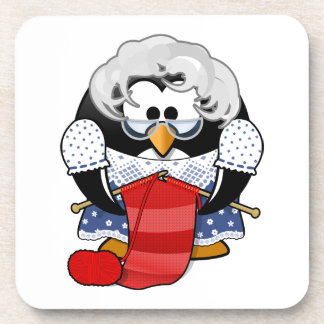 Penguin grandma knitting animation illustration drink coaster