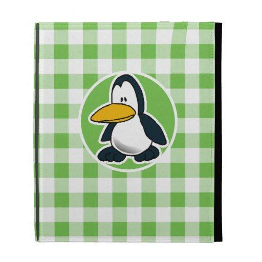 Penguin; Green Gingham iPad Folio Covers