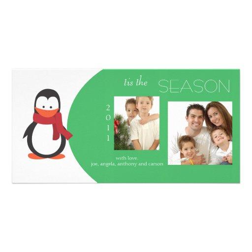 Penguin Green Holiday Photo Card