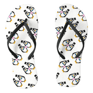 Penguin Groom & Groom Flip Flops