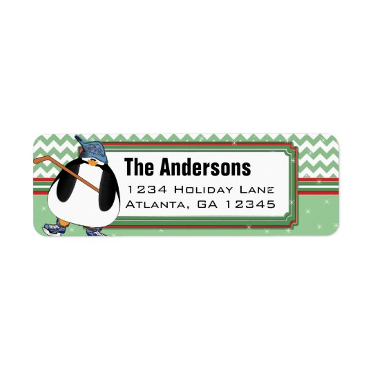 Penguin Hockey Stick Christmas Return Address Return Address Label