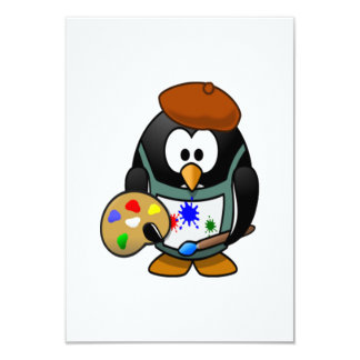 Penguin Holding an Art Palette 9 Cm X 13 Cm Invitation Card
