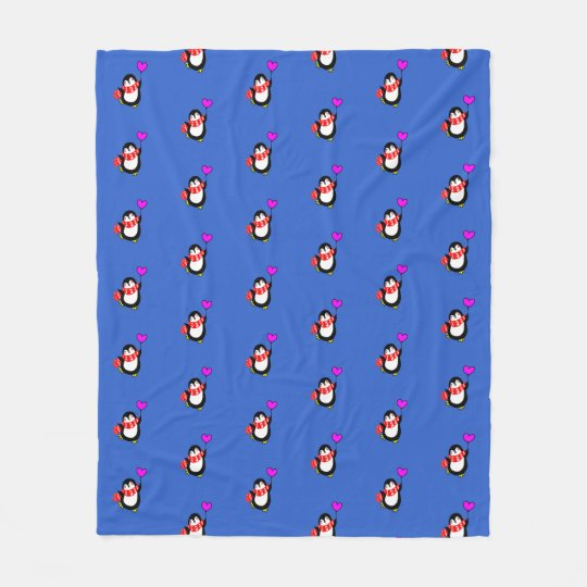 Penguin Holding Heart Balloon Fleece Blanket