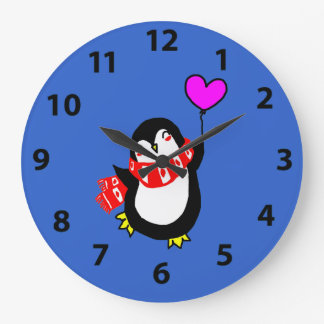 Penguin Holding Heart Shaped Balloon Clock