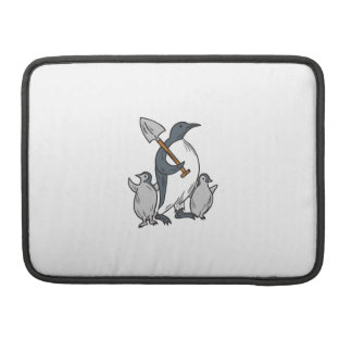 Penguin Holding Shovel With Chicks Drawing Sleeve For MacBook Pro