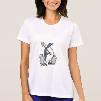 Penguin Holding Shovel With Chicks Drawing T-Shirt