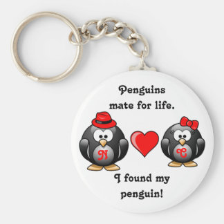 Penguin I Found My Mate for Life Pair Red Heart Key Ring