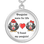 Penguin I Found My Mate for Life Pair Red Heart Round Pendant Necklace