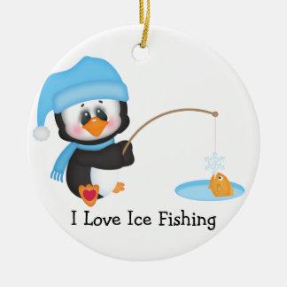 Penguin Ice Fishing Ceramic Ornament