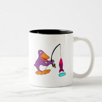 Penguin Ice Fishing Two-Tone Mug