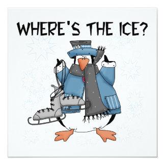 Penguin Ice Skating Tshirts and Gifts Card