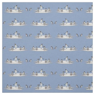 Penguin Iceberg Party Fabric (Light Blue)