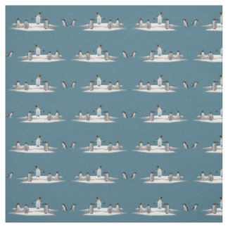 Penguin Iceberg Party Fabric (Turquoise)