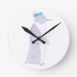 Penguin In A Fancy Hat Round Clock