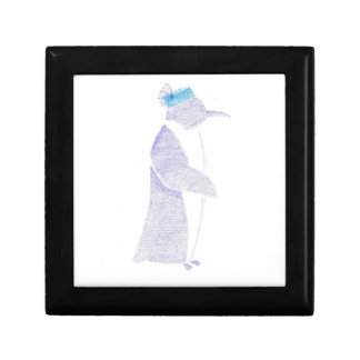 Penguin In A Fancy Hat Small Square Gift Box